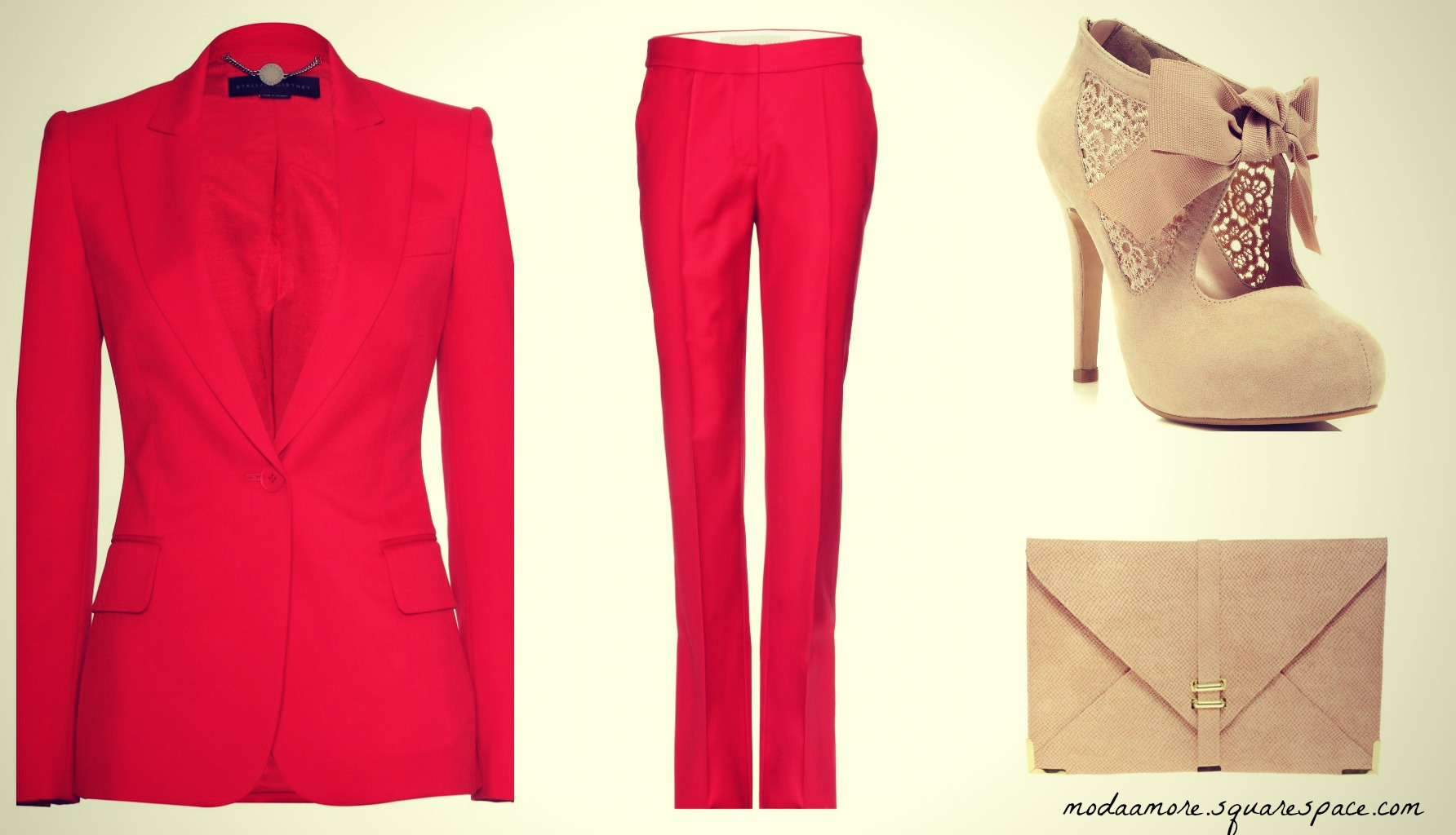 Stella McCartney Wool Blazer. Price:$933 MYTHERESA.COM   Stella McCartney Wool Trousers. Price:$464 MYTHERESA.COM  Sally Nude Town Shoe-Price: $80 MISSSELFRIDGE.COM  Slot Through Envelope Clutch. Sale Price:$24.56 ASOS.COM