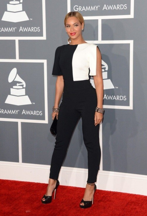 Beyonce in a black and white Osman Yousefzada pantsuit