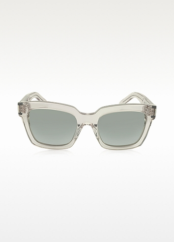Saint Laurent Bold Transparent Turtledove Acetate Sunglasses $300 FORZIERI.COM