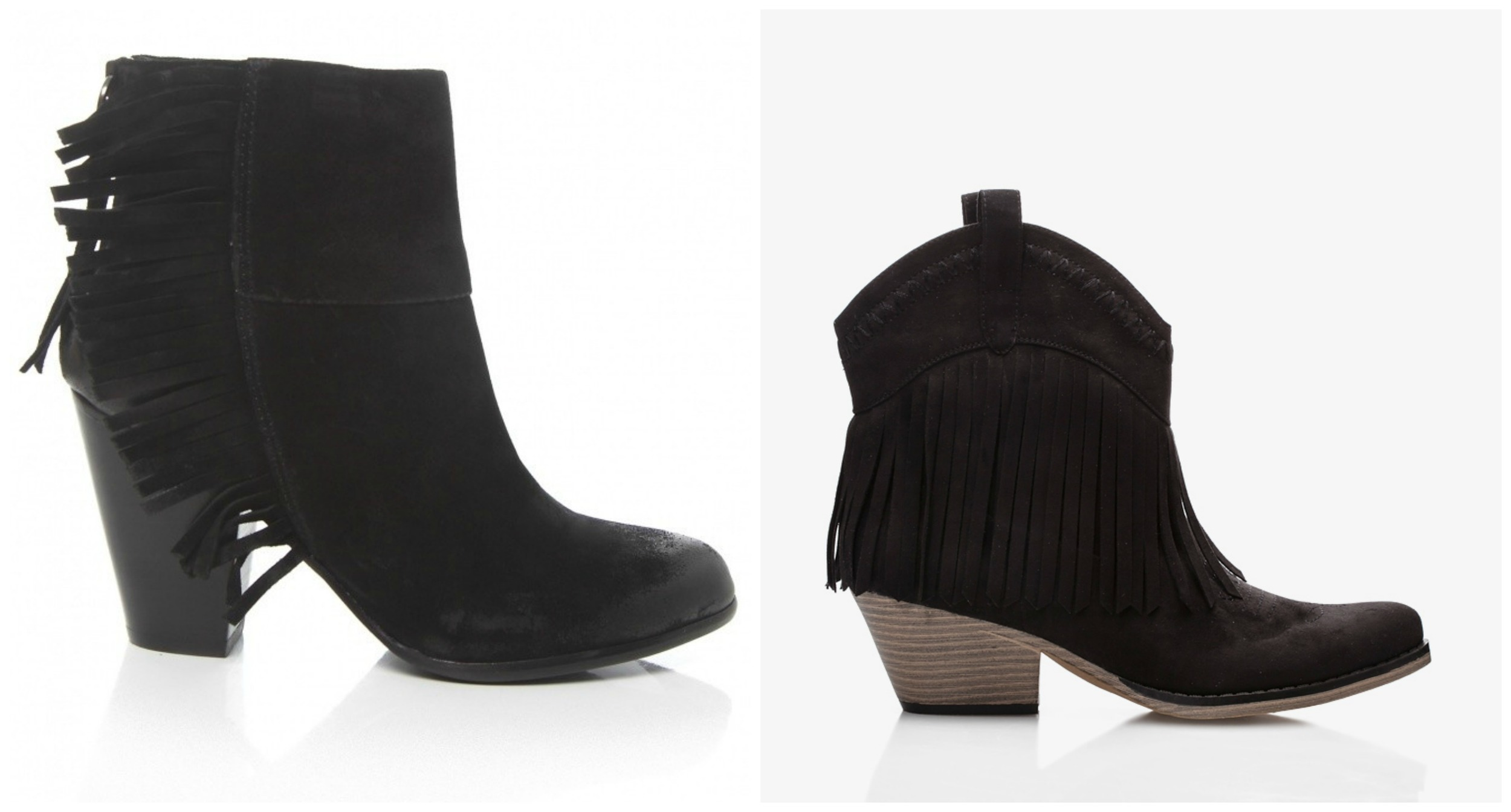 If you guessed the ones on the right. You have an eye for a good bargain. The price difference even shocked me.    (LEFT)  ASH QUICK CALF SUEDE BOOTIES $281.00   (RIGHT)  F21 FRINGE STYLE BOOTIE $36.80