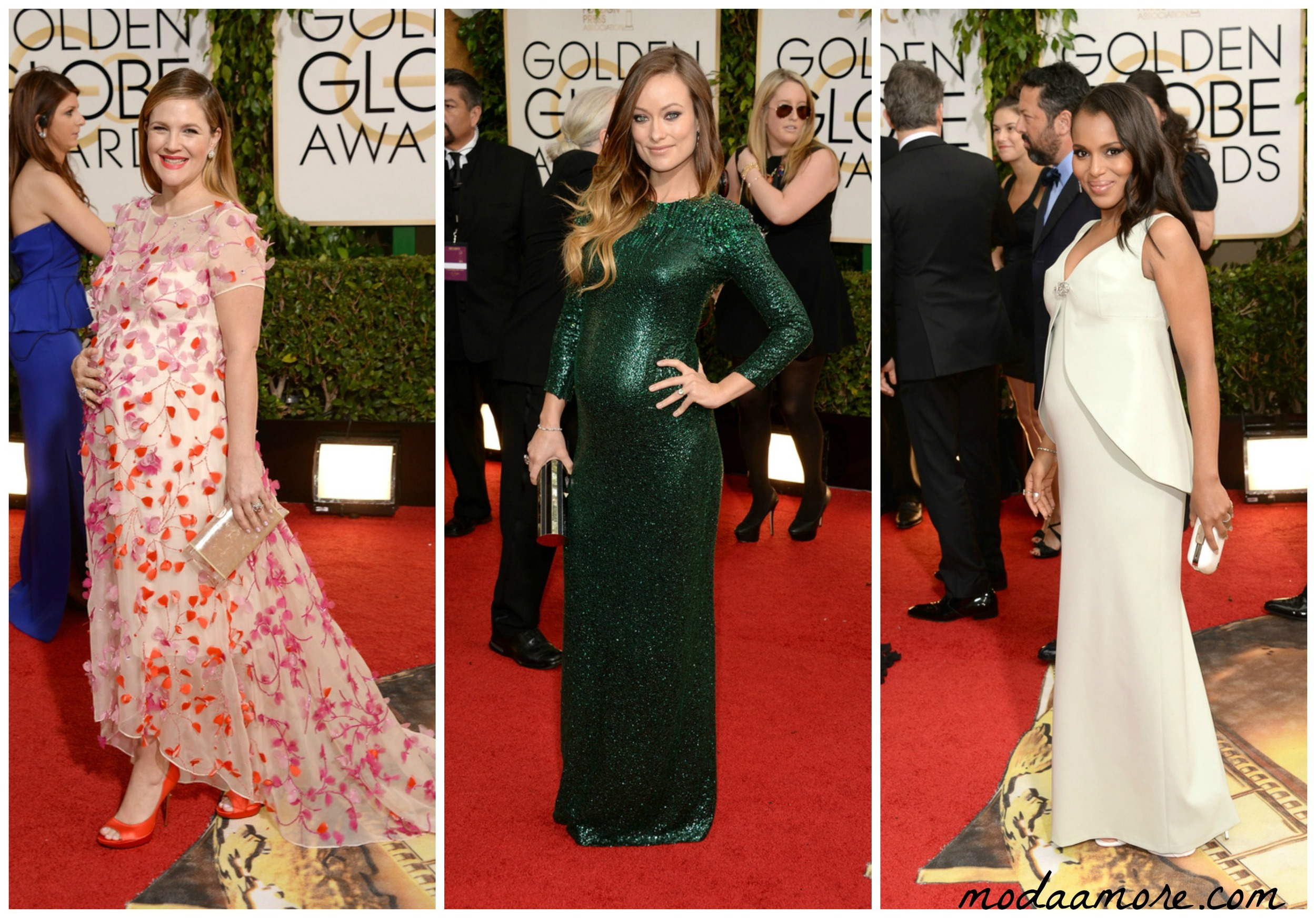 Drew Barrymore in Monique Lhullier, Olivia Wilde in Gucci, Kerry Washington in Balenciaga