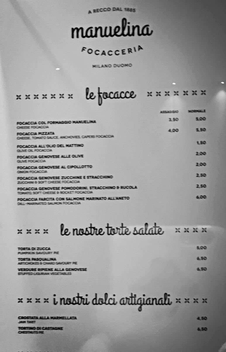 Menu La Manuelina Milano.Clicca per ingrandire.