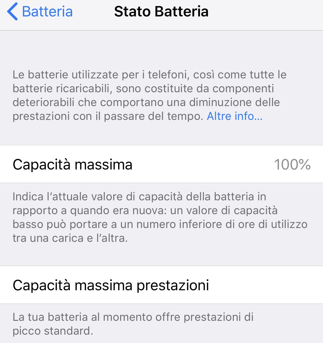 Capacità massima batteria iPhone