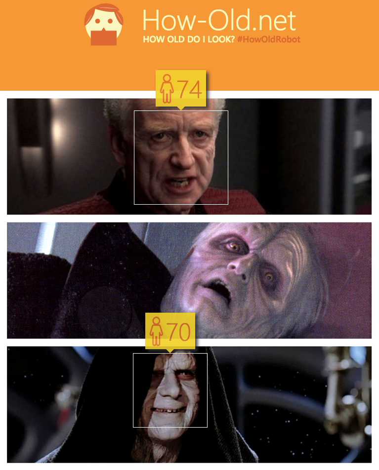 Of course his face is probably going to be unrecognisable after a lightning attack, courtesy of Mace Windu's defence, but this...this difference in age confuses me... Do the Galactic Empire have a strong private health insurance package including anti-ageing remedies?