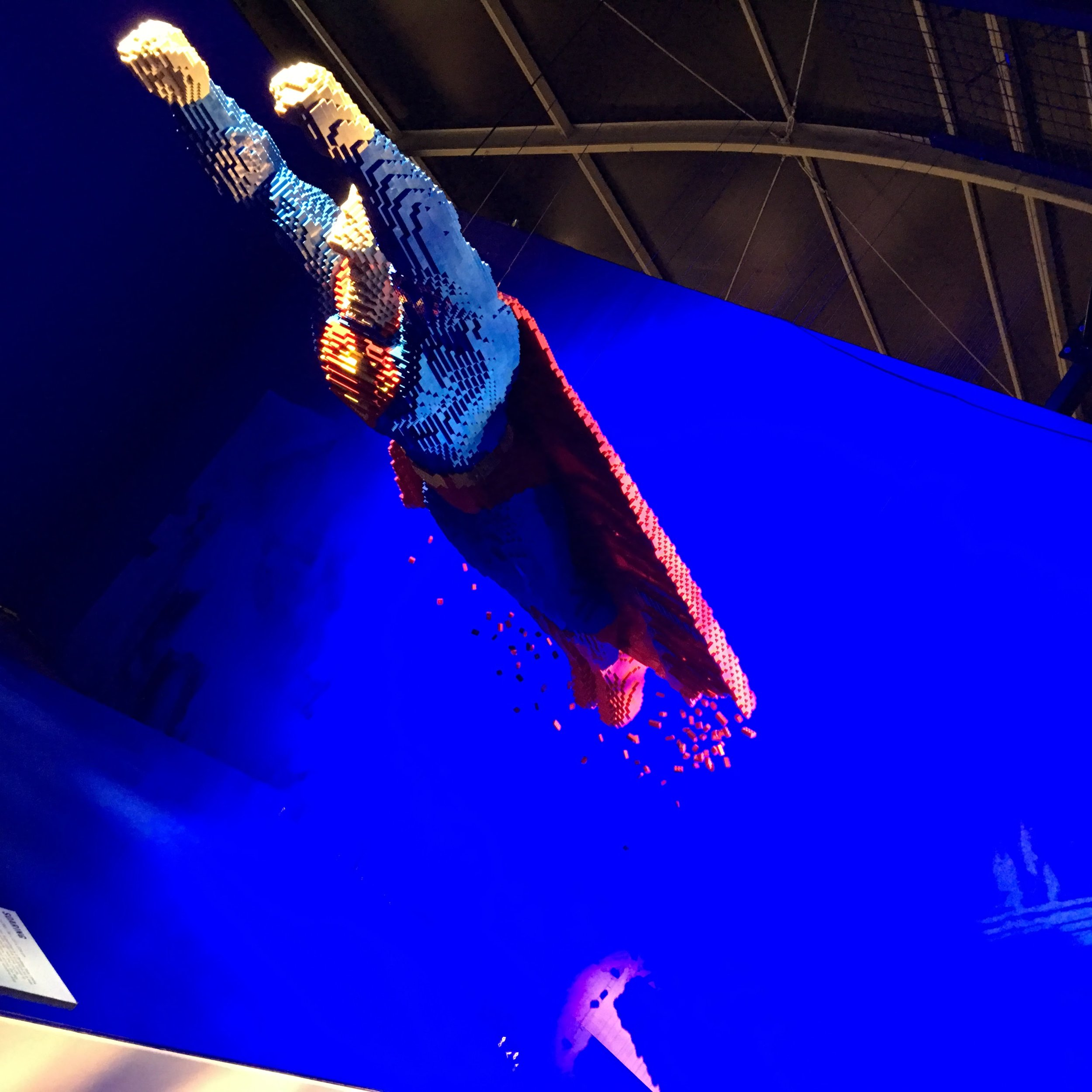 Superman - suspended by wires.
