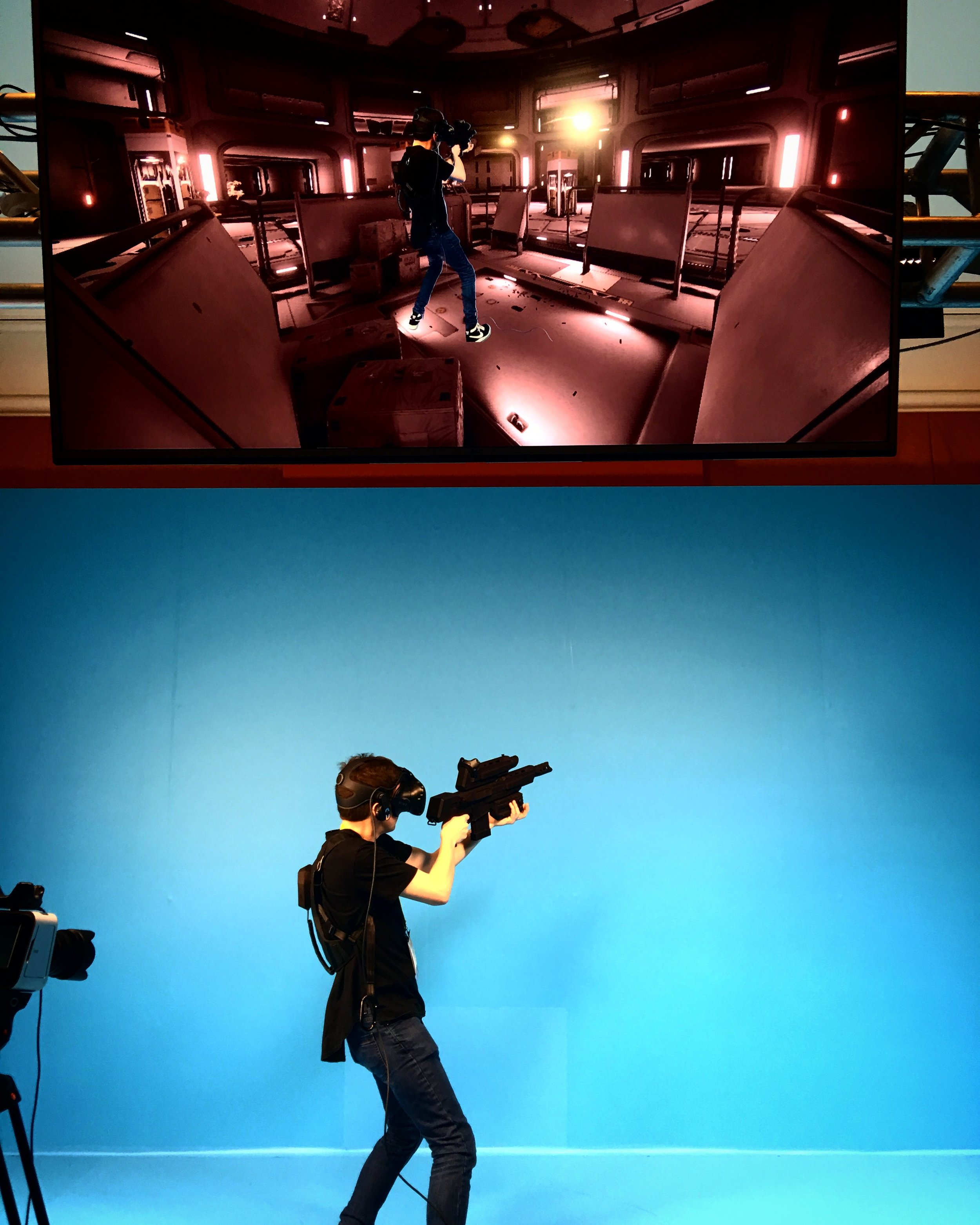 Me, unleashing my inner nerd on the VR shooting demo at CES 2017.