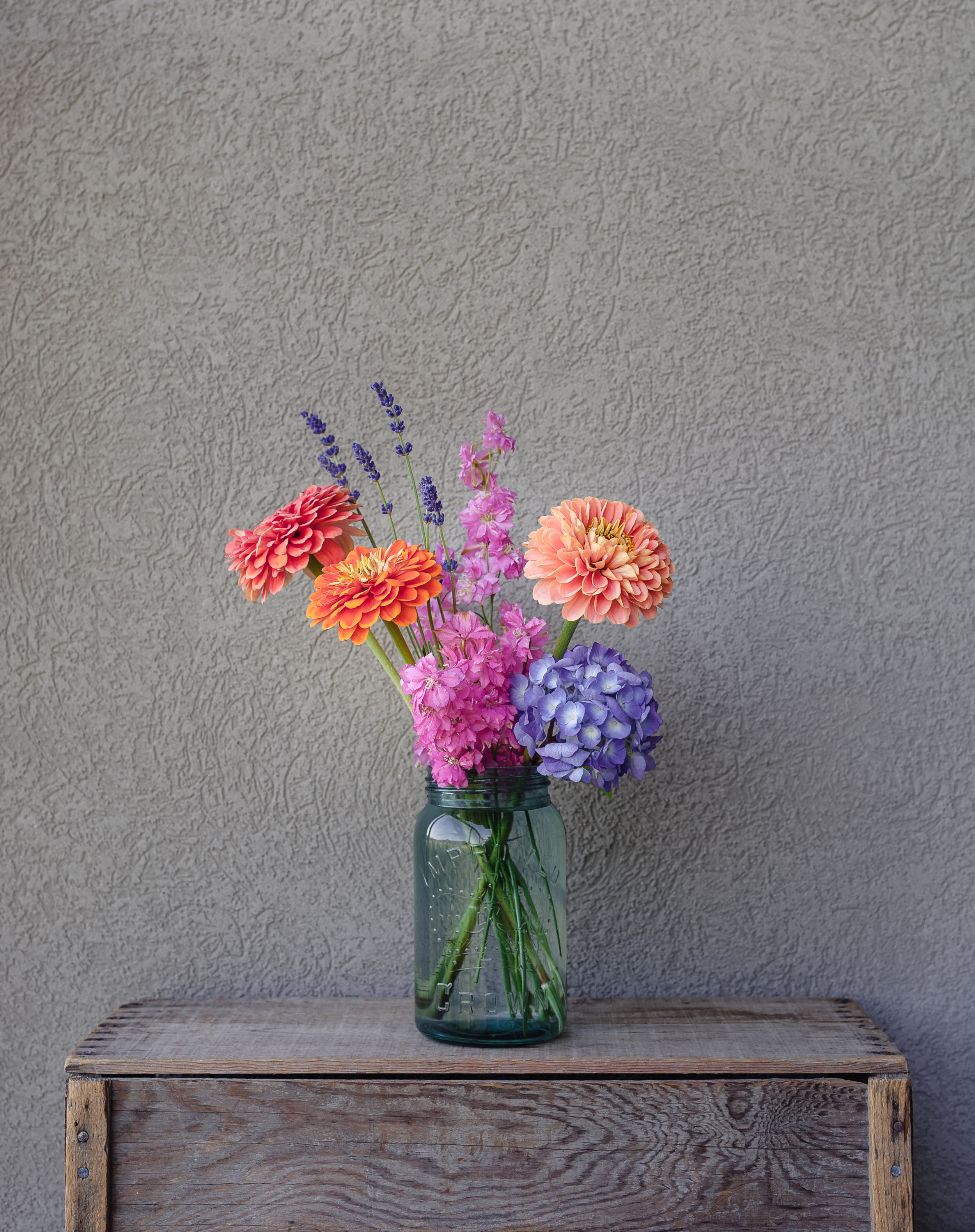 A mixed bouquet of zinnias, lavender, larkspur, and one long-lived hydrangea