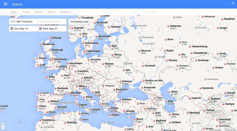 Visualizing open-ended travel via Google Flights — Remains ... on google flight search tool, google earth plane crash, google earth world map,