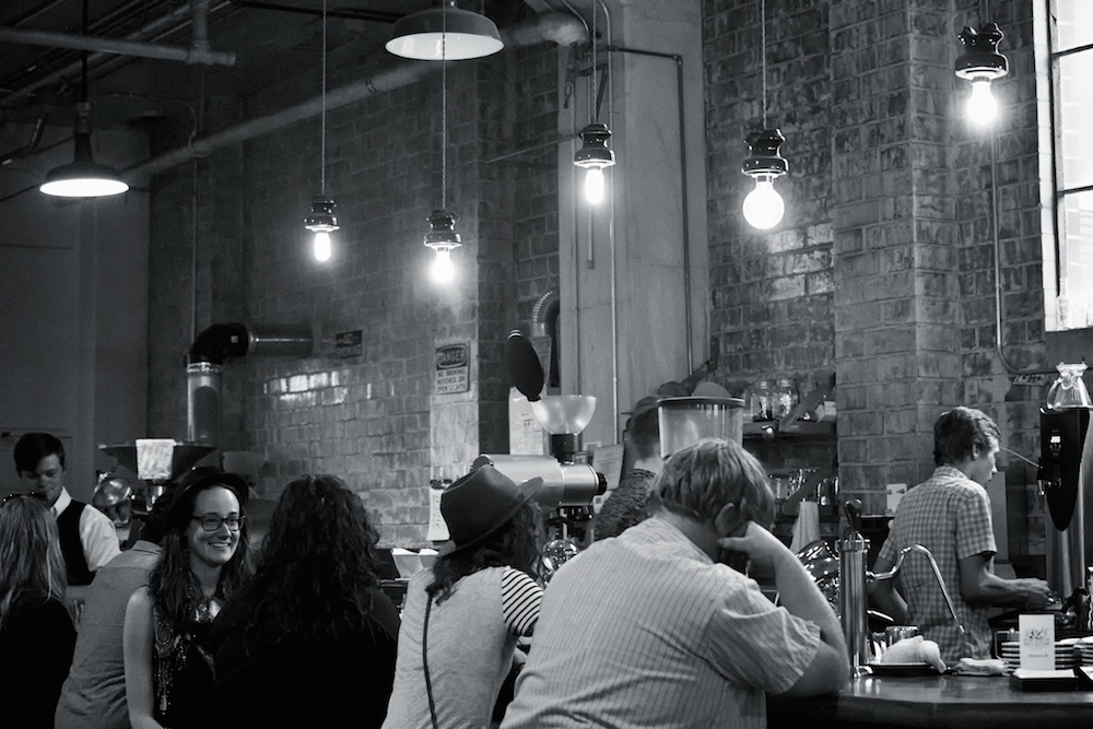 Friday Night crowd at Due South Coffee