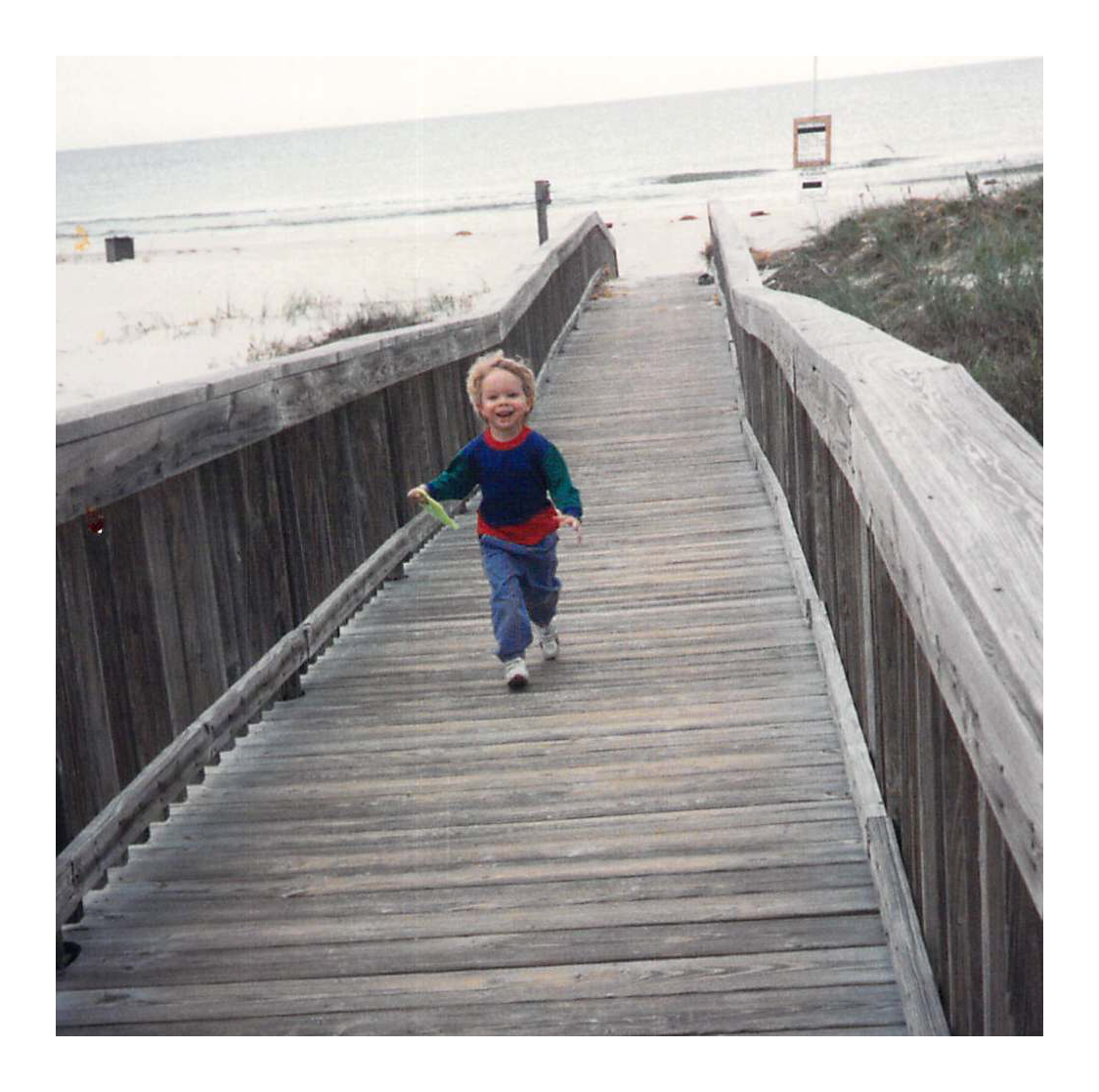 A snapshot of Jonathan at the beach when he was three.