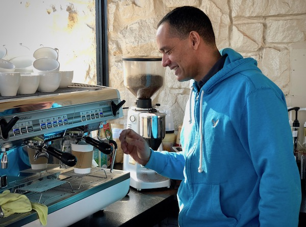 Victor barista-ing things up.