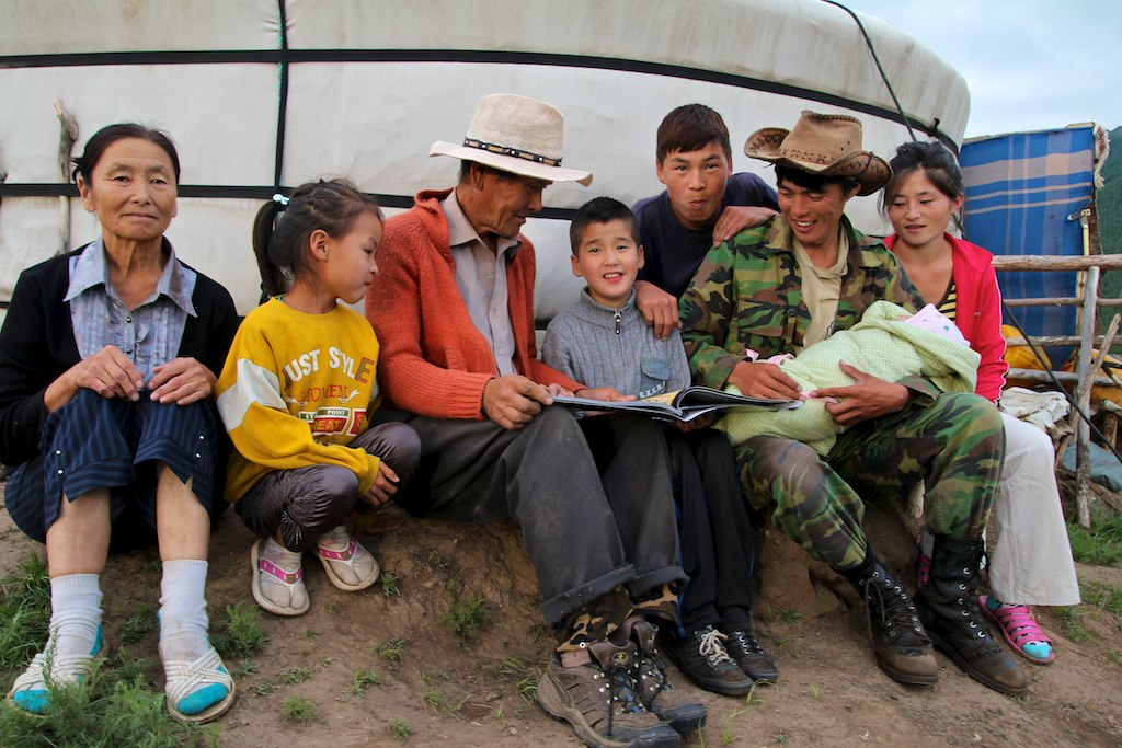 """A nomadic Mongolian family - at their """"golomt""""."""
