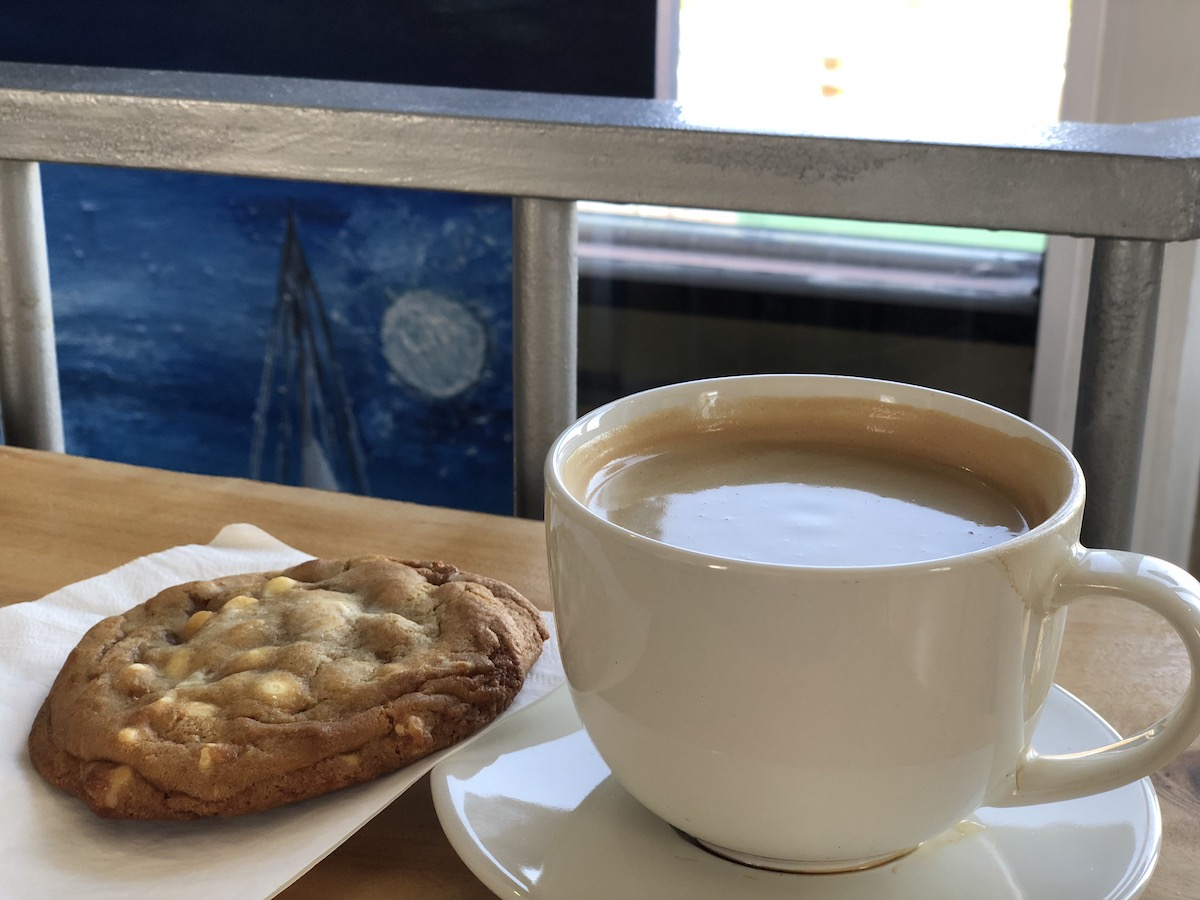 Four shot Americano and a white chocolate macadamia nut cookie. Perfect way to finish the work week.