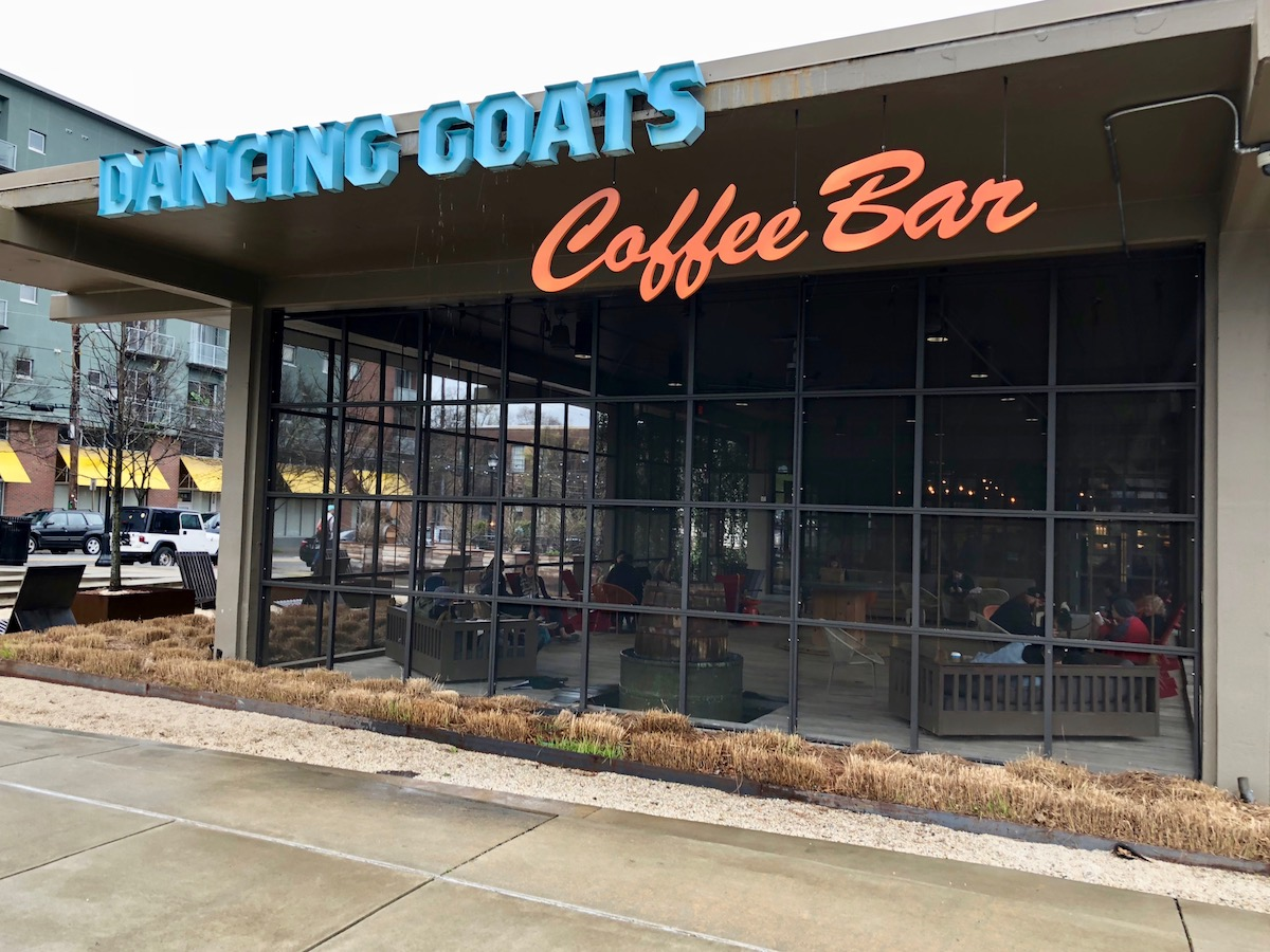 When you arrive at Dancing Goats Coffee Bar at the Ponce City Market in Atlanta, there's a sense of being someplace special.