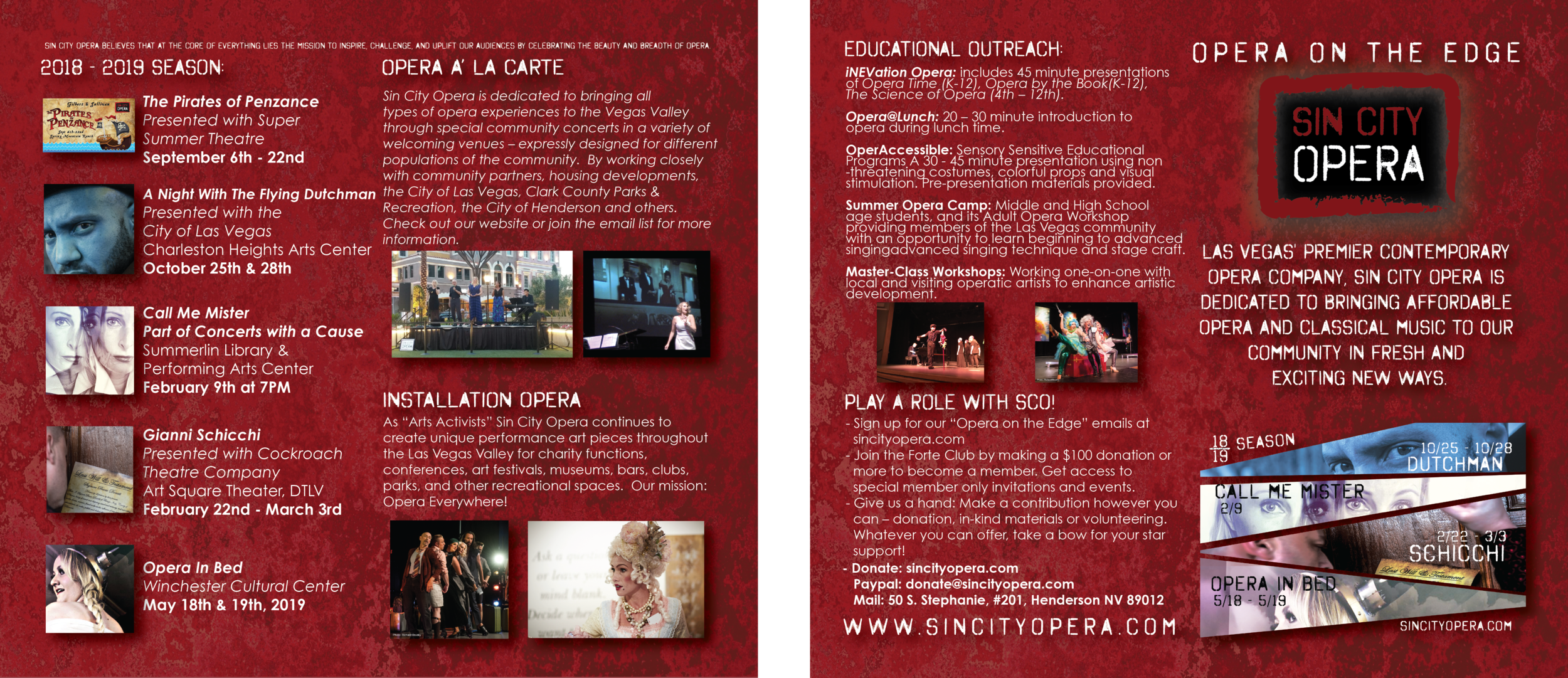 Sin City Opera 2018-2019 Season Rack Card