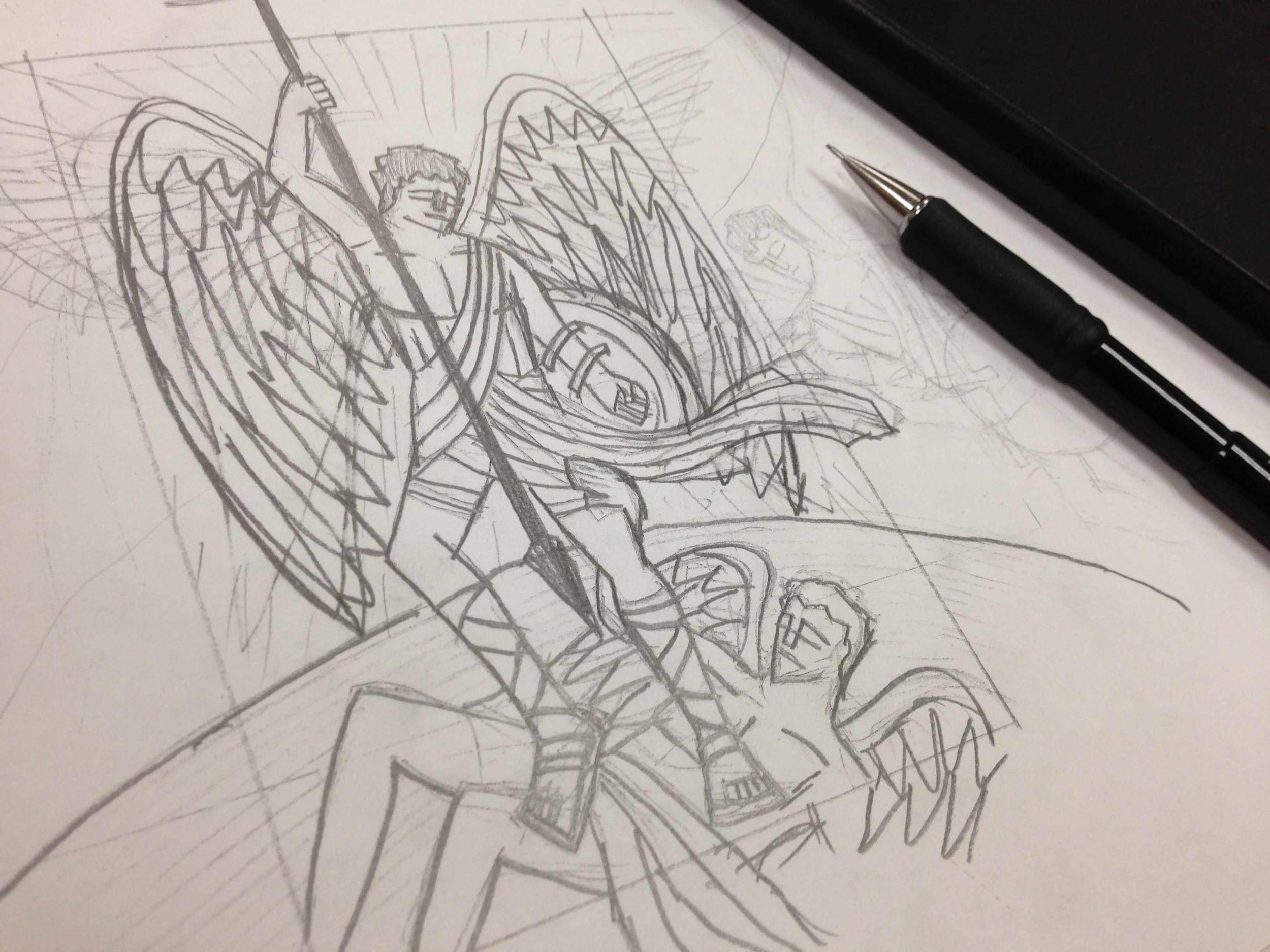 An early sketch with different wings.