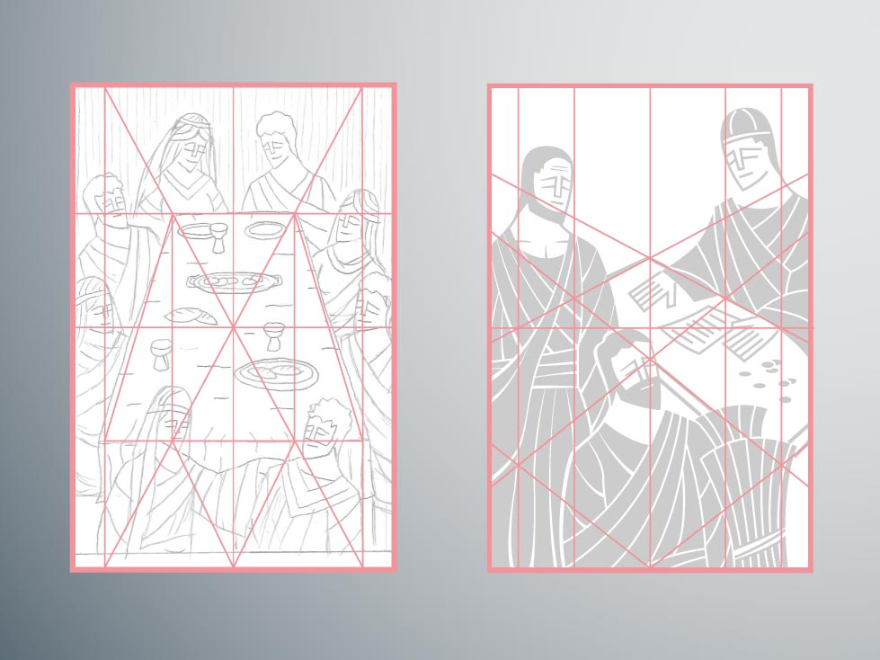 Grids are quite often used to maintain symmetry throughout the art.