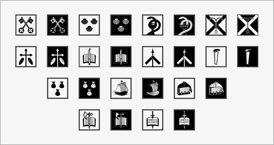 Symbols of the twelve apostles and St. Paul in both black and white versions.