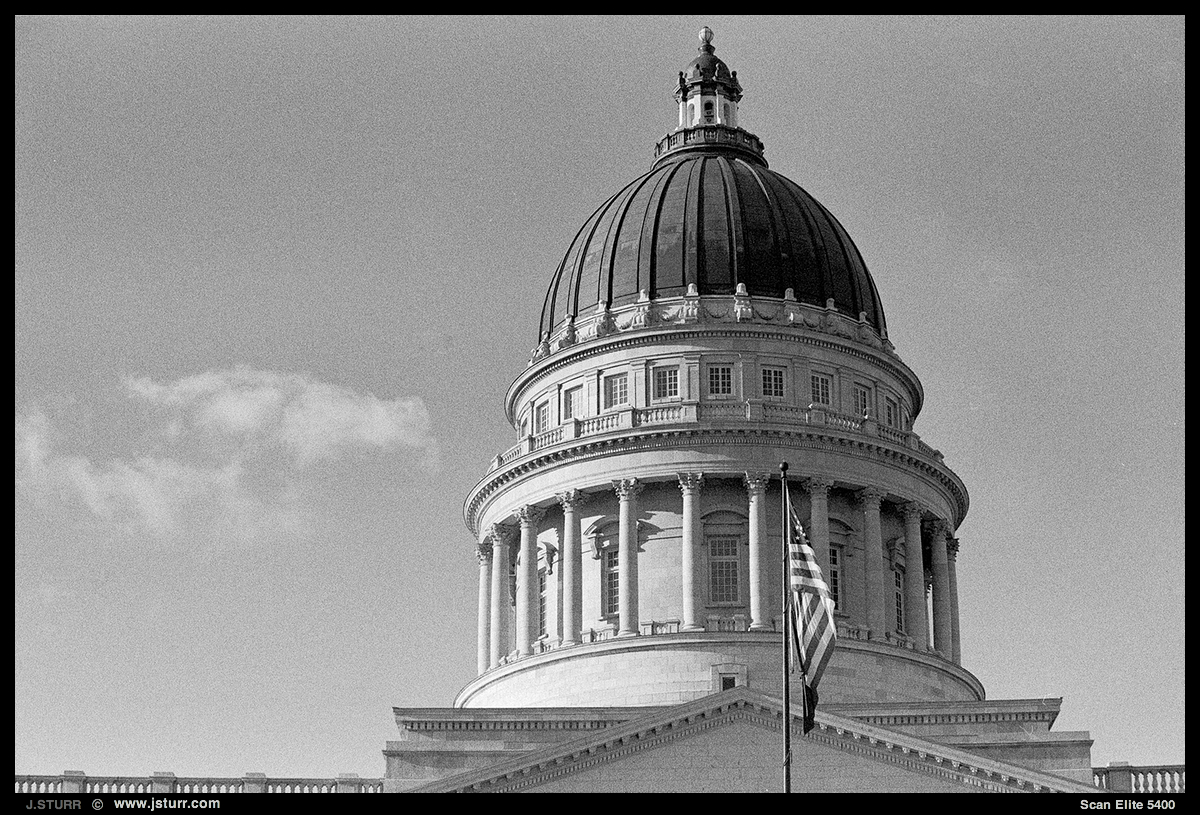 Salt Lake City State Capitol - Nikon F100, Fuji Acros 100 in Rodinal Stand Dev. for 60 min.
