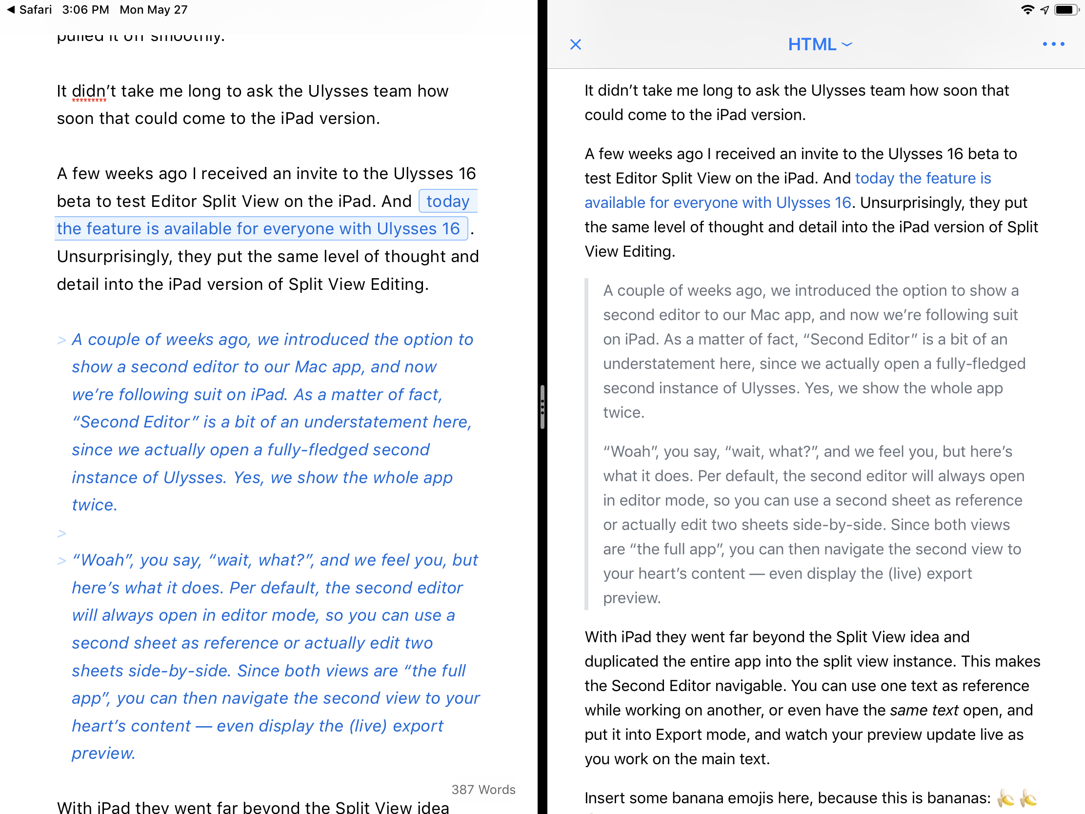 Split view of Ulysses 16 on iPad, with a live preview of the active text.