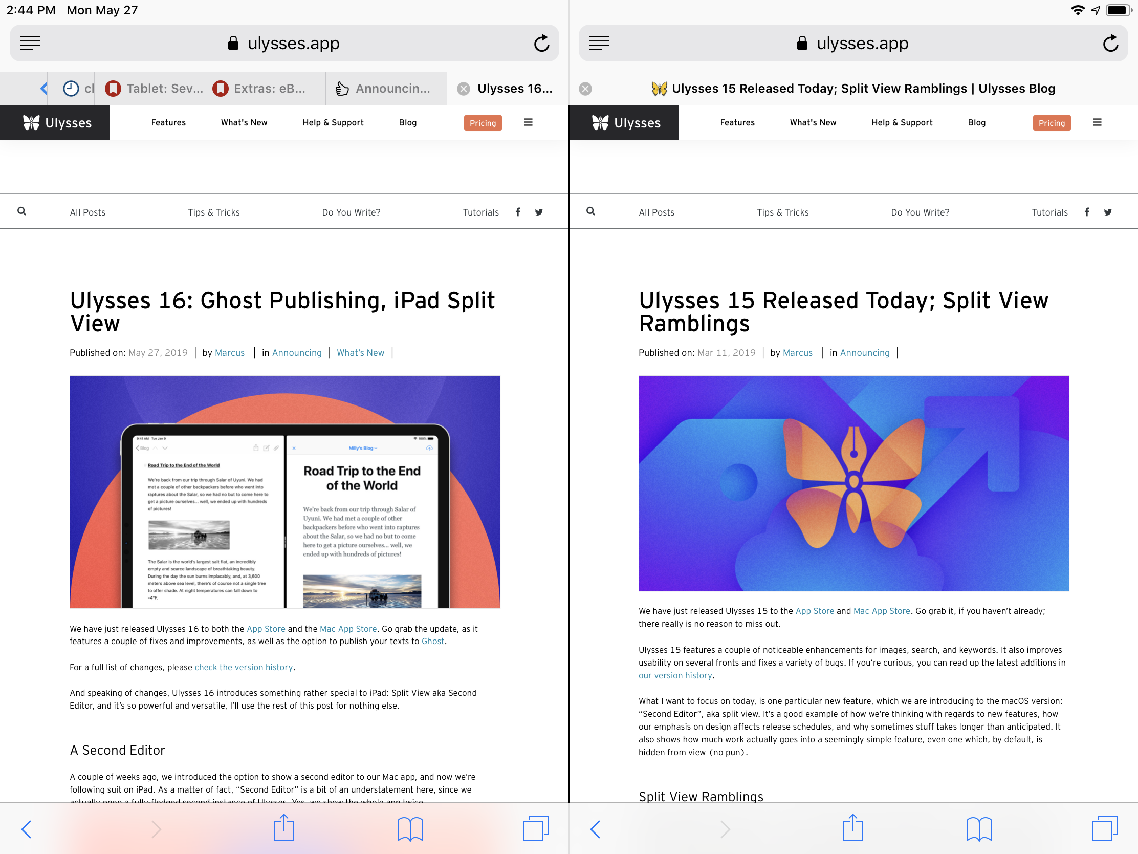 Safari's rudimentary in-app Split View.