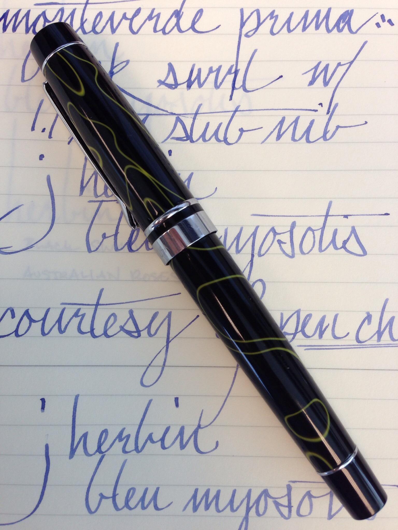 Monteverde Prima Black Swirl w/ 1.1mm Stub Nib