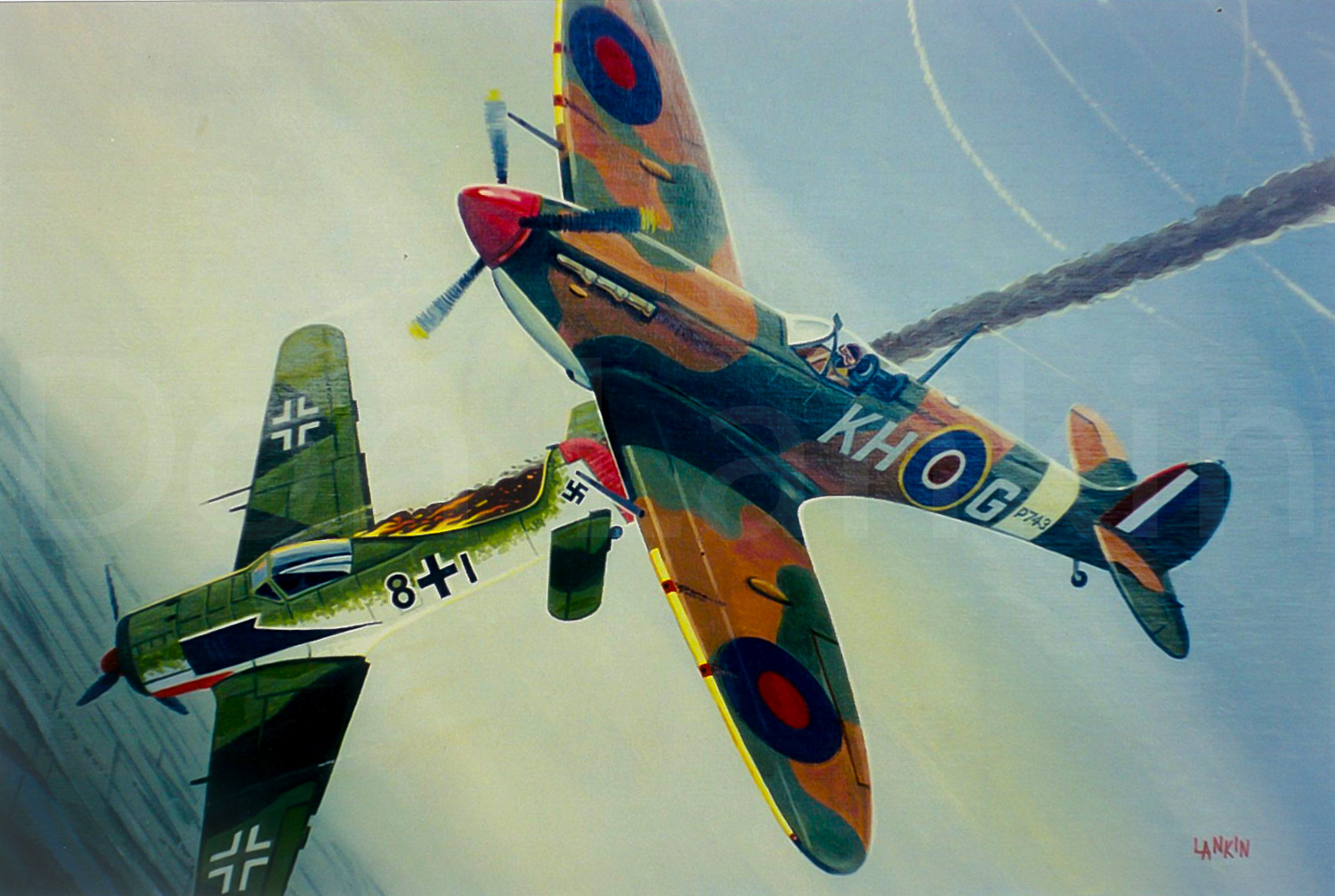 403 Squadron Spitfire Mk. VB dispatches Fock-Wulf FW 190A