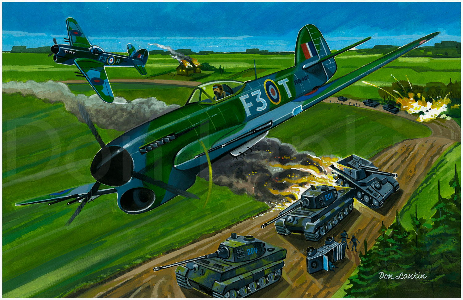 R.C.A.F  #HawkerTyphoon  's decimate a German armoured car.  #aviationart   #aviation -art  #artofdonlankin