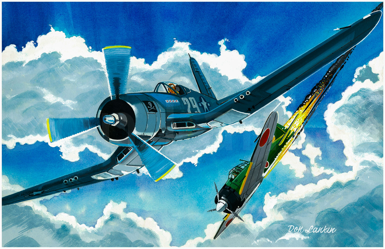 Ira Kepford, the U.S. Navy's leading ace in 1944, downs a Japanese Zero. VF-17 was the first Navy Corsair squadron.