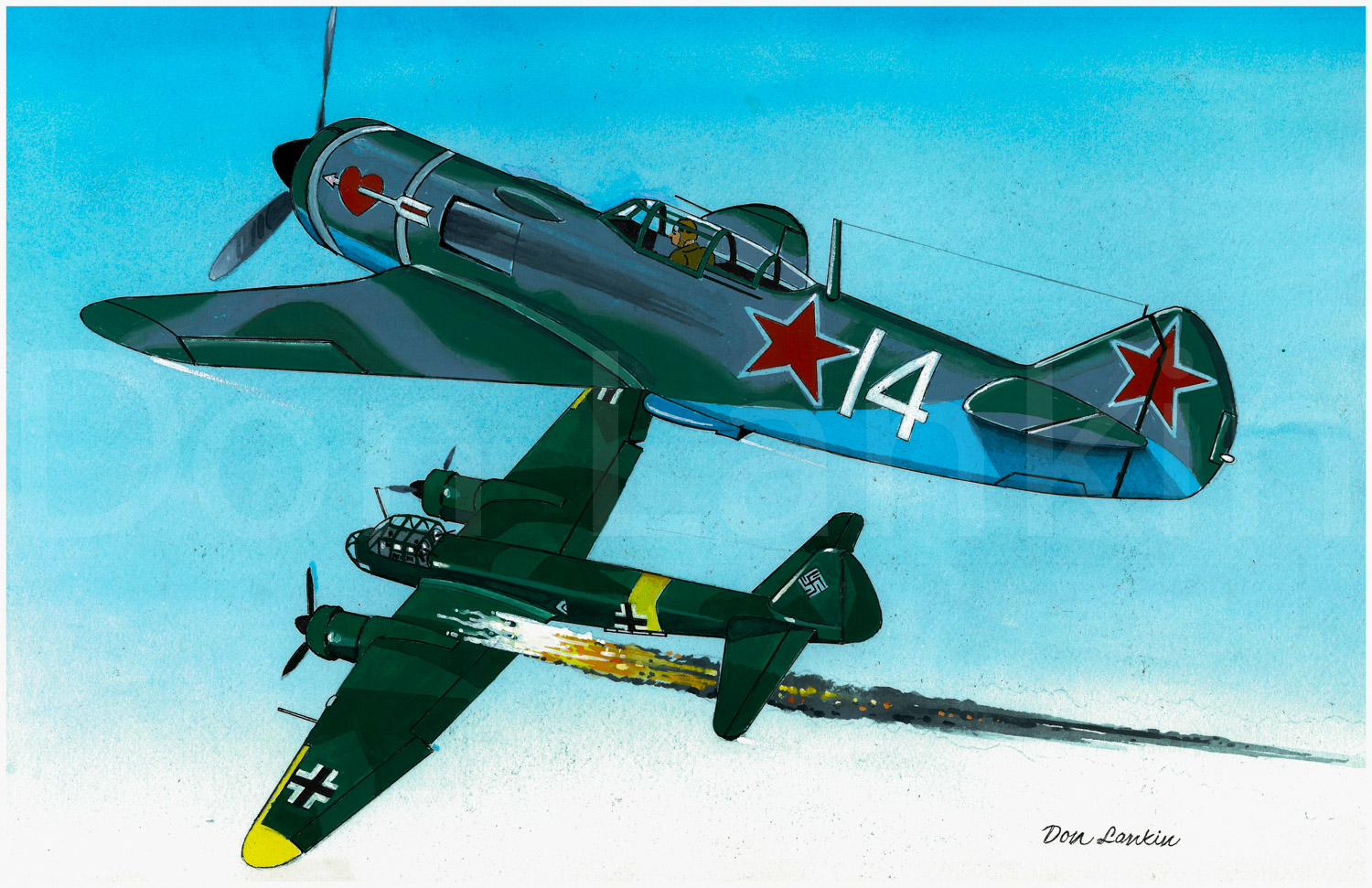 Soviet Air Force, Lavochkin La-7 downs a German Junkers Ju 88A, Russia 1944