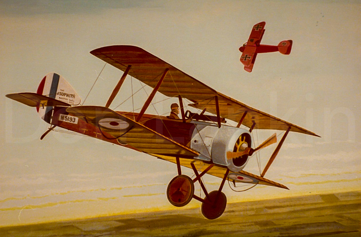 Manfred Von Richthofen flying his all red Albatross engaged in combat with a Sopwith Pup of the R.F.C.