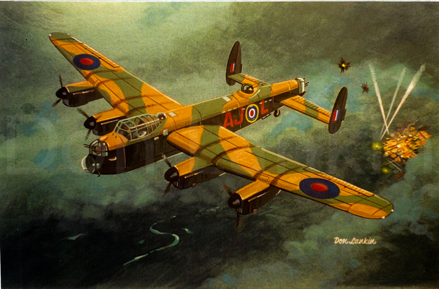 Avro Lancaster from 617 Sqn. with bomb doors closed and Merlin's at max. heads for home. December 1943
