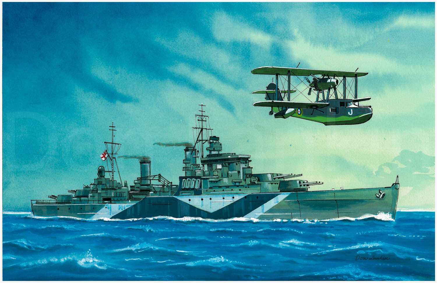 """Fiji"" class cruiser H.M.S. Jamaica 1943 - Armament: 12-6 inch guns, Speed: 32 kts. Carried a Walrus amphibian aircraft."
