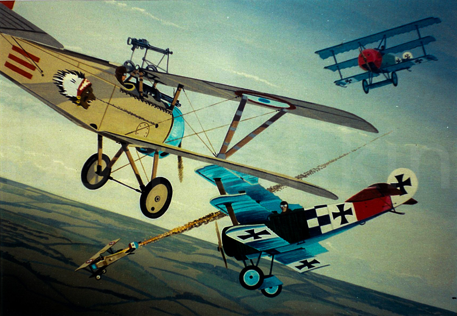 Dog fight on the western front. French Nieuport's tangle with German Fokker DRI triplanes.