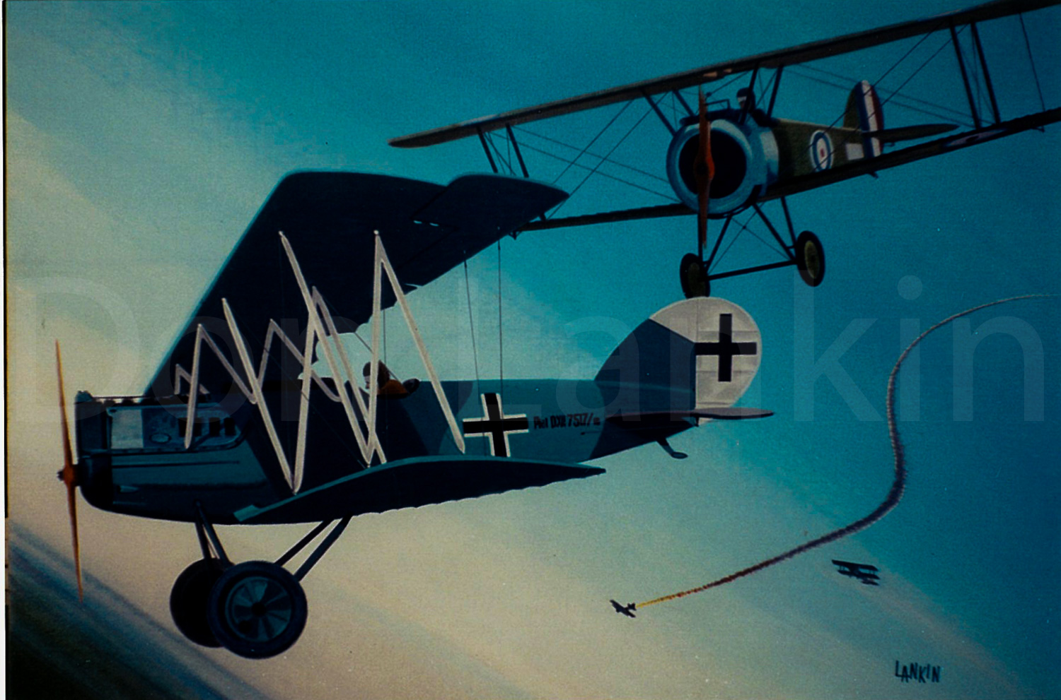 Sopwith Camel of the R.F.C. shown in combat with a German Pfalz D-XII over the Western Front WWI.