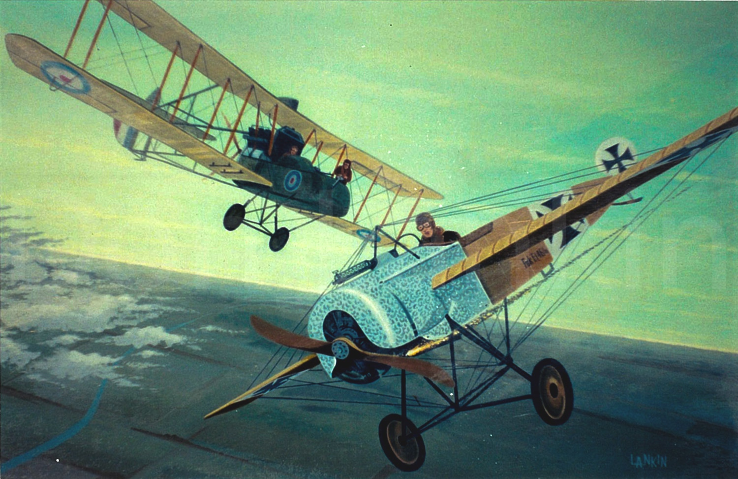 British FE2d fights it out with a German Fokker E-II. World War I, spring of 1916.