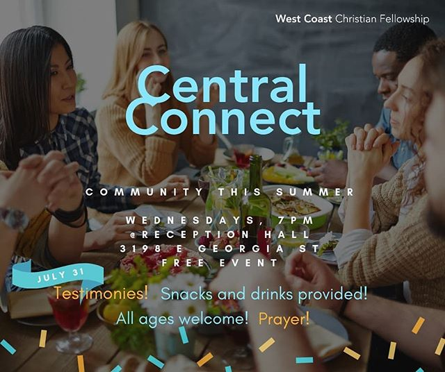 This Wednesday, life stories and potluck food at the church. Everyone welcome, invite a friend! Can't make it this week? Central Connect is every Wednesday of the summer. Join the fun when you can! 🎉