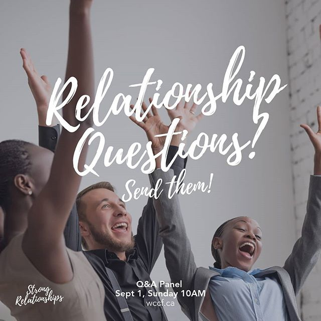 🤔Got questions about friendships, dating, marriage, parenting, workplace interactions?👫🙄 💭 Send them in the comments or direct message🗯️ and we'll try to answer them in our Q&A panel Sept 1! 😱💯 . . . #strongrelationships #questions #relationshipgoals  #relationships #yvr #eastvanchurch #hastingssunrise