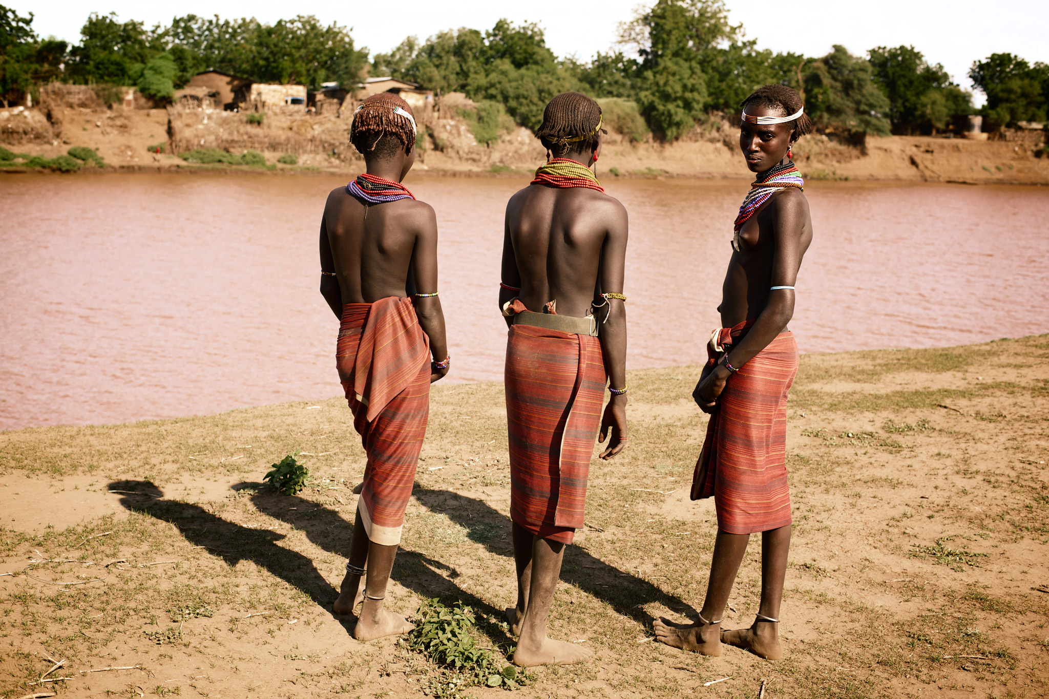 Daasanach Girls at Omo Riverbank, Ethiopia