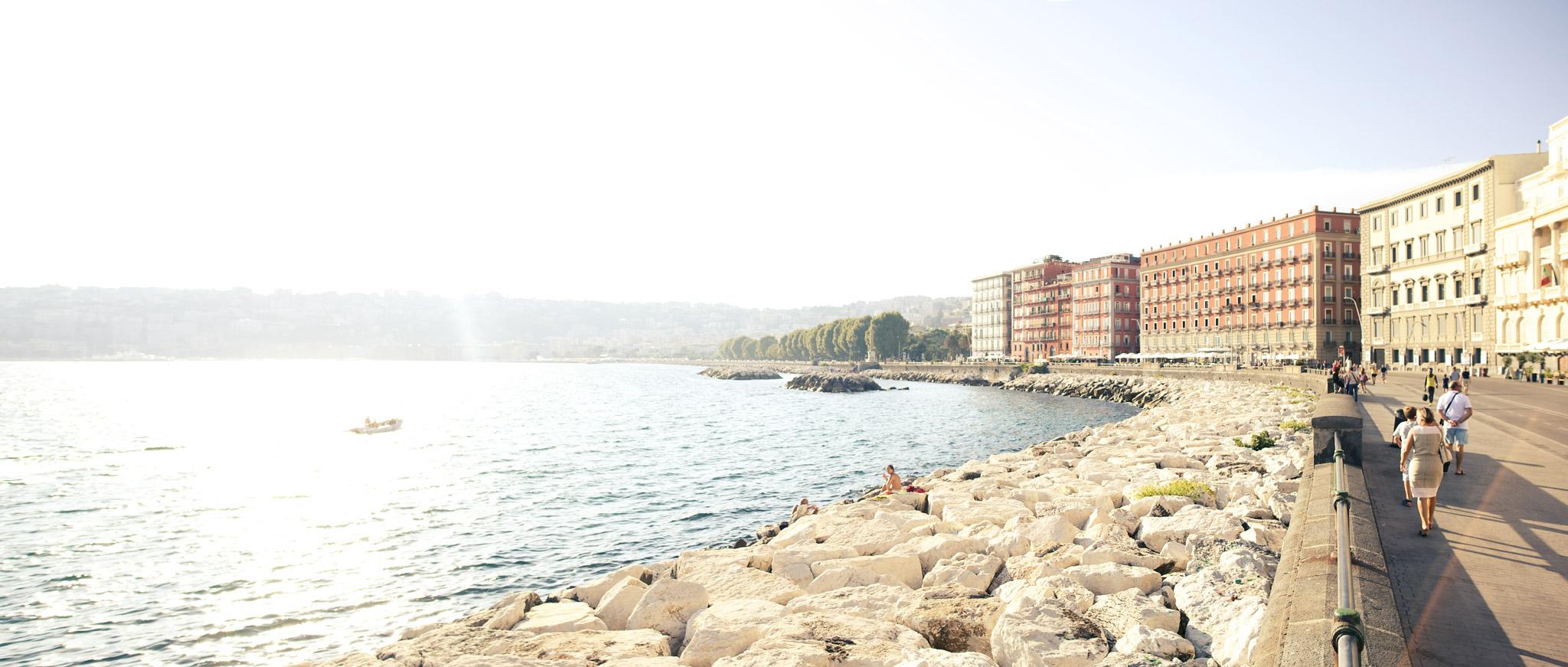 A view towards the Via Francesco Caracciolo and Bay of Naples
