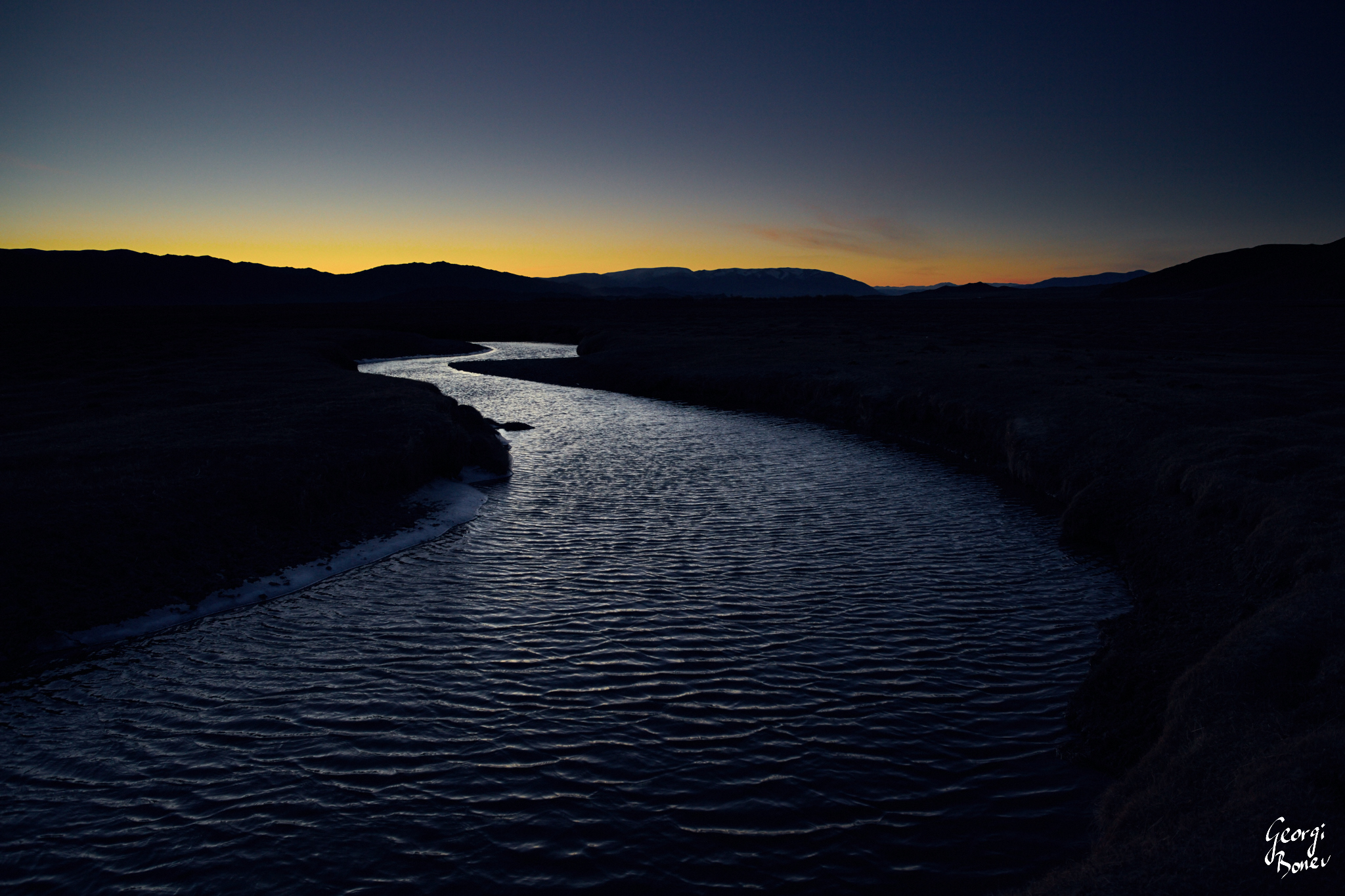 Twilight Above River in Altai Steppe