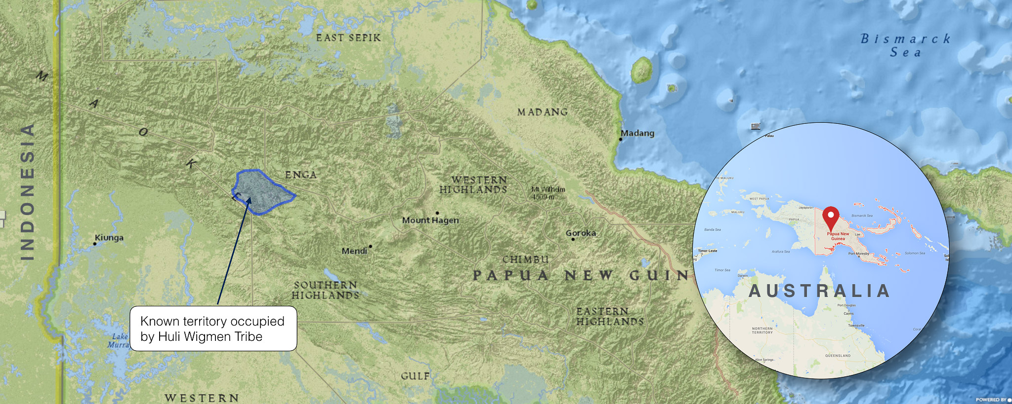 HULI WIGMEN MAP, PAPUA NEW GUINEA