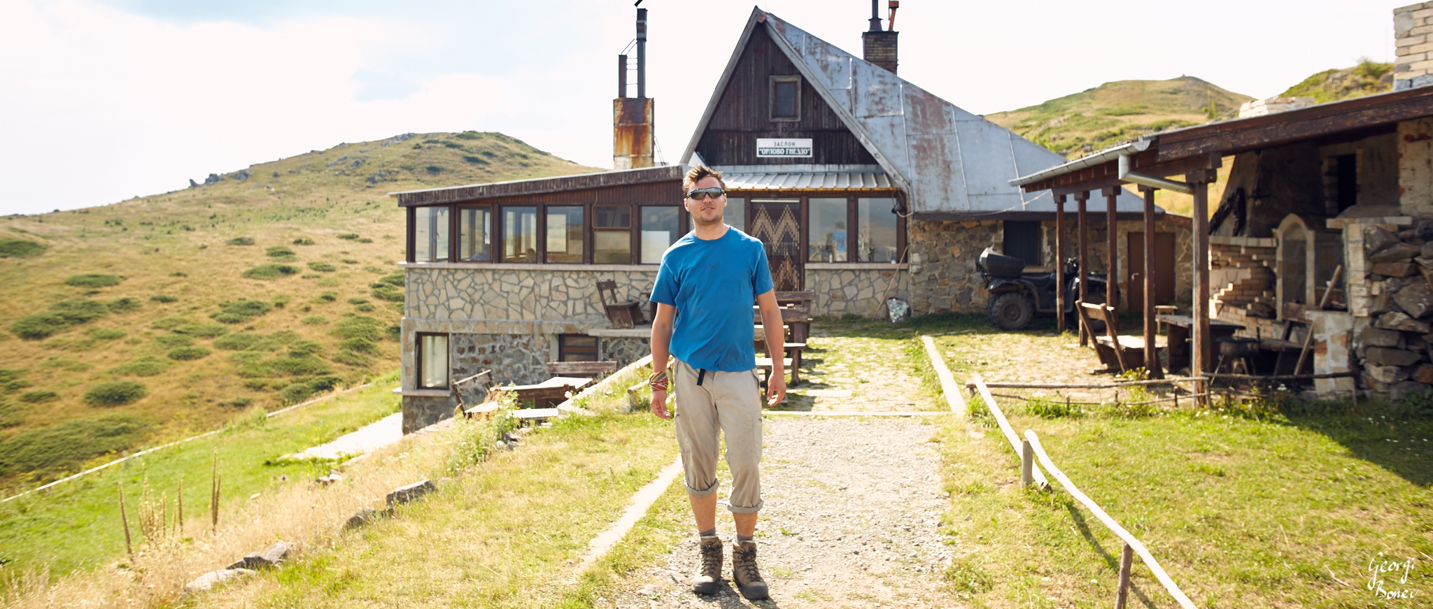 Georgi in front of Orlovo gnezdo shelter, Mt. Stara planina, Bulgaria