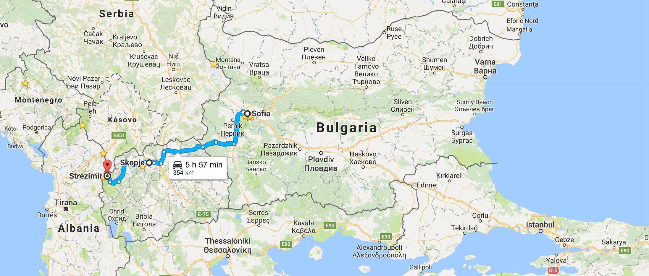 from Bulgaria ot Macedonia