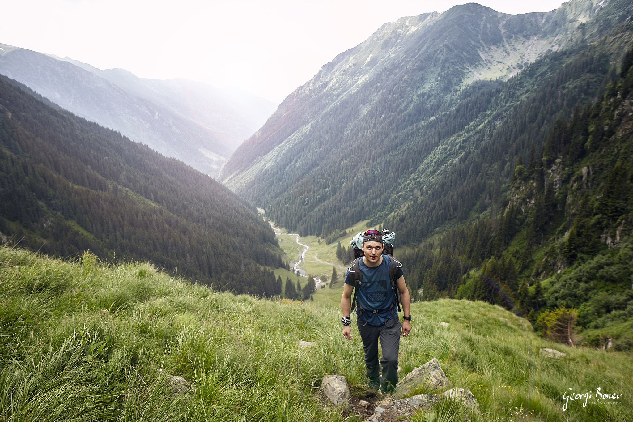 Georgi trekking to Moldoveanu Peak, Fagaras Mountain, Romania