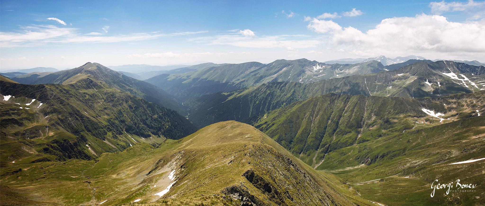The view from Moldoveanu Peak, Fagaras Mountain, Romania