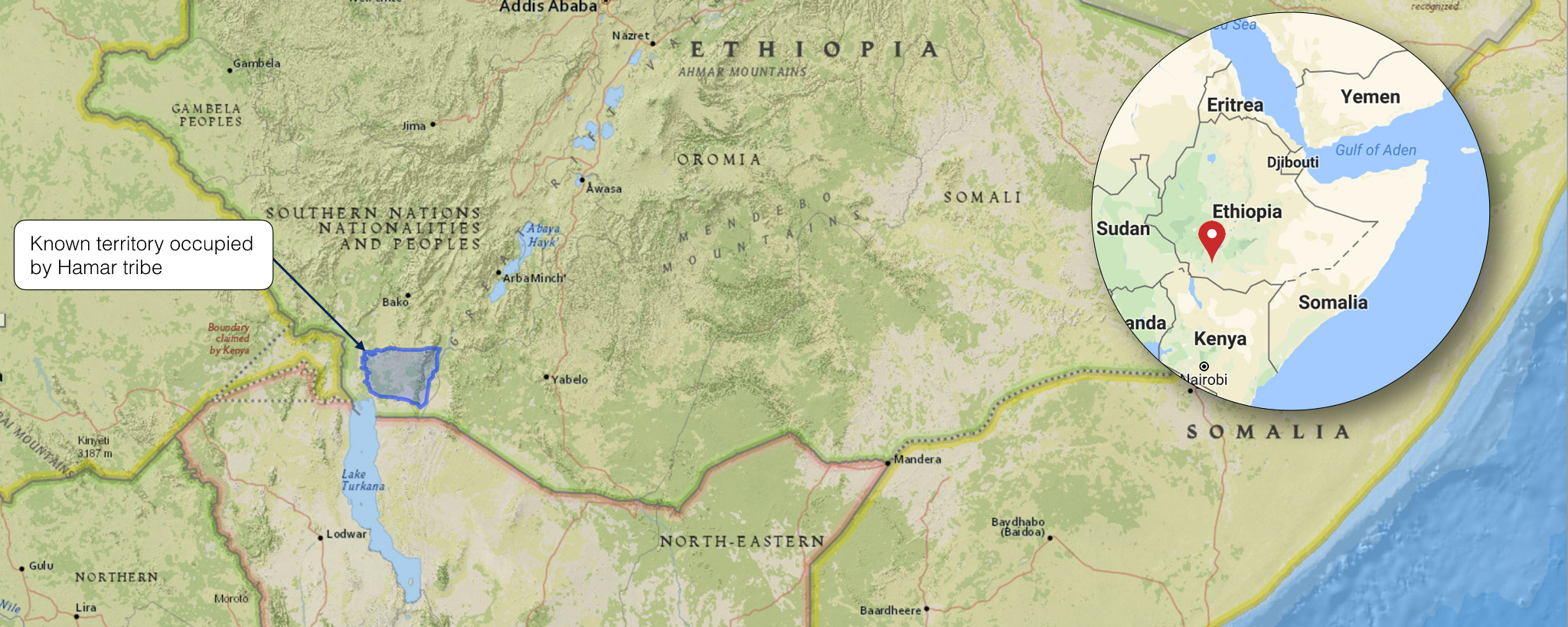 HAMAR TRIBE MAP, LOWER OMO VALLEY, ETHIOPIA