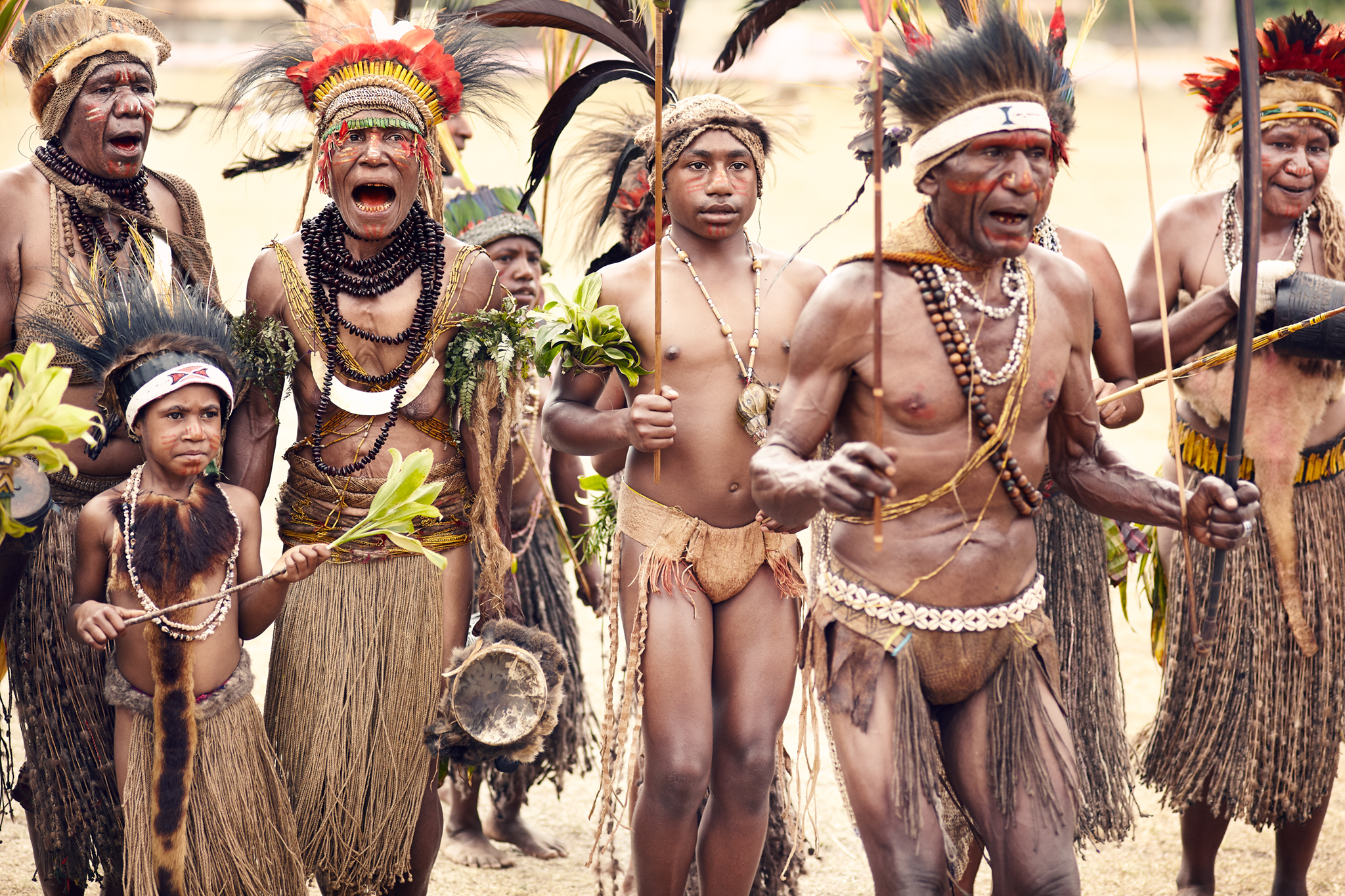 Wotose Tribe gather for group celebration, Papua New Guinea