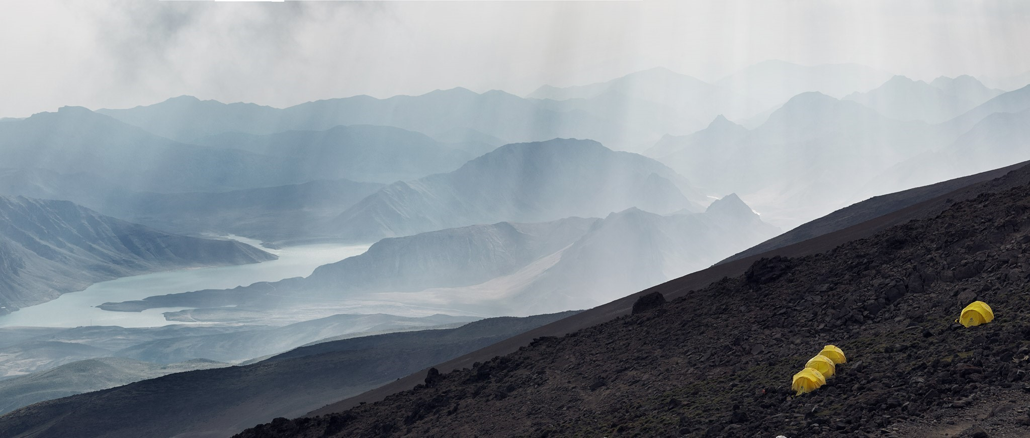 Lar Damn Lake as seen from Mt. Damavand Base Camp (4200m), Iran
