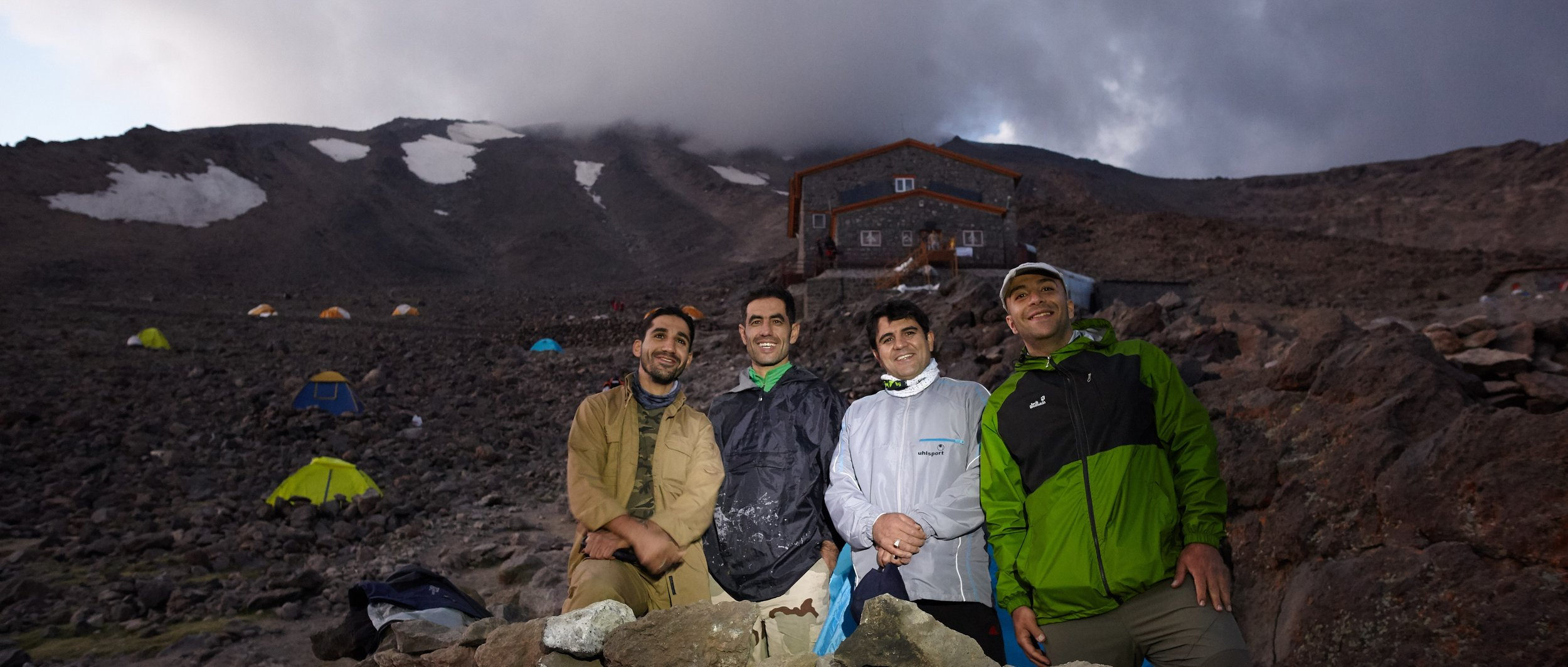 Teacher, Police Office, Hospital stuff and Government officer - all friends together at Base Camp, Mt. Damavand, Iran